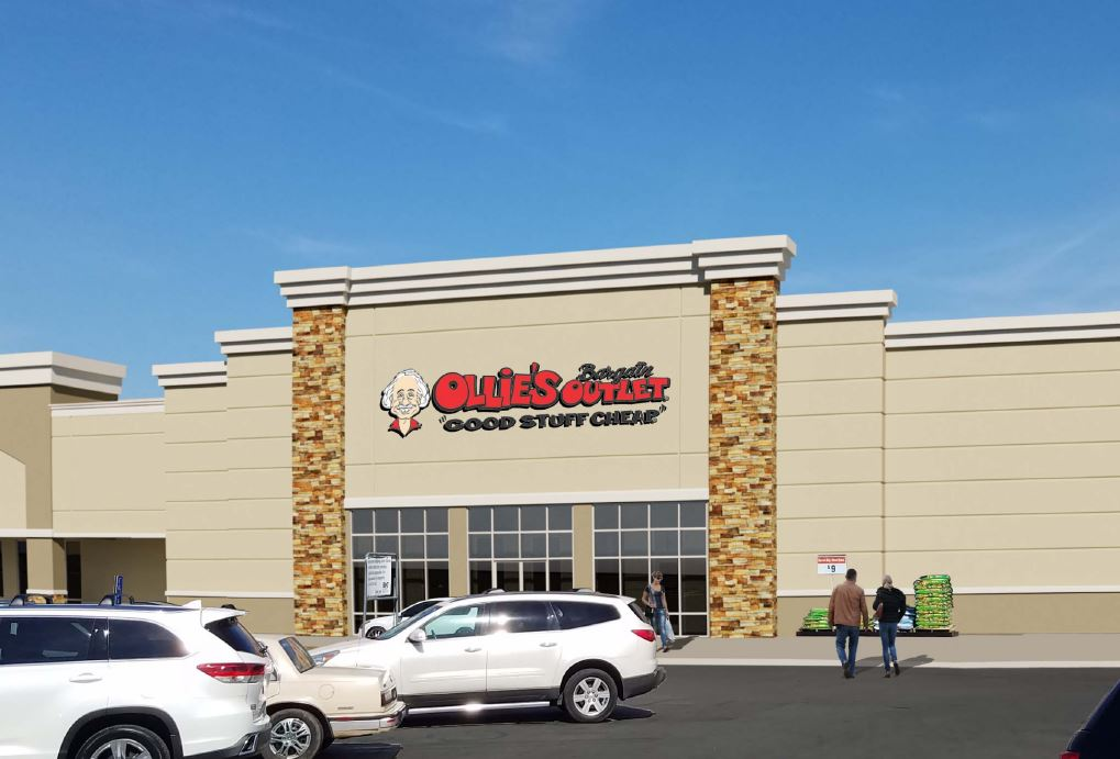 Architectural rendering of proposed storefront renovations for Ollie's Bargain Outlet at Florence Plaza Shopping Center.